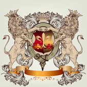 Design with heraldic elements and lions in vintage style — Stockvektor