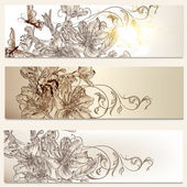Floral brochures set for design — Vector de stock