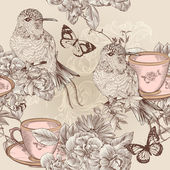 Vector seamless wallpaper pattern in floral vintage style — Stock Vector