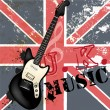 Stock Vector: Fashion grunge music background with bass guitar and British fl