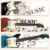 Brochure vector set on music theme with bass guitars — Stock Vector
