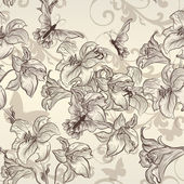 Beautiful vector seamless wallpaper with lily in vintage style — Stock Vector