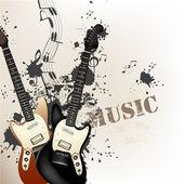 Creative grunge music background with bass guitars — Stockvektor