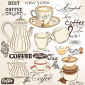 Collection of vintage vector decorative elements tea and coffee — Stok Vektör