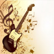 Stock Vector: Music background in vintage style with bass guitar and notes