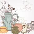 Hand drawn vector background with tea in vintage style — Imagen vectorial
