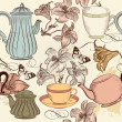 Seamless wallpaper background with hand drawn cups, teapots and  — Stock Vector