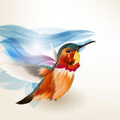 Abstract beautiful vector background with realistic humming bird — Stok Vektör