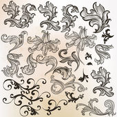 Collection of vector swirls in vintage style — Stock Vector