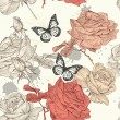 Seamless wallpaper pattern with roses — Stok Vektör