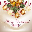 Beautiful Christmas background with shining baubles and bells — Cтоковый вектор