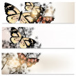 Abstract brochures set in floral style with butterflies — Vector de stock #35902757