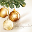 Christmas design with classic baubles hand on a fir tree branch — Vecteur