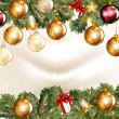 Christmas background  with  shining baubles on a fir tree branch — Векторная иллюстрация