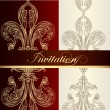 Stock Vector: Luxury invitation design with fleur de lis