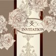 Stock Vector: Invitation card design with roses