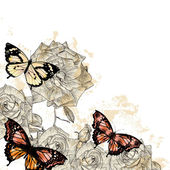 Beautiful floral background with butterflies and roses — Stockvektor