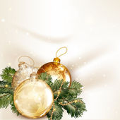 Christmas background with baubles and fir tree branches on a cle — Vetor de Stock