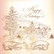 Stock Vector: Christmas greeting card in vintage style with hand drawn landsca