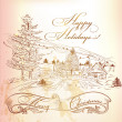 Christmas greeting card in vintage style with hand drawn landsca — Stock Vector