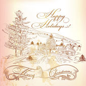 Christmas greeting card in vintage style with hand drawn landsca — ストックベクタ