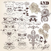 Collection of vector vintage calligraphic elements and page deco — Stock Vector