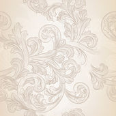 Seamless vector wallpaper pattern with swirl floral element — Stock Vector