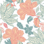Vector seamless wallpaper pattern with floral elements — Vecteur