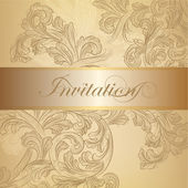 Vector swirl invitation card in golden color — Stock Vector