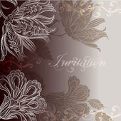 Wedding invitation design with floral swirls — ストックベクタ