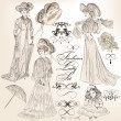 Stock Vector: Collection of vector detailed fashion lady in old-fashioned vin