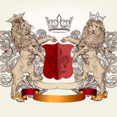Design with heraldic elements and lions in vintage style — Vetor de Stock