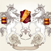 Design with heraldic horses in vintage style — Stock Vector