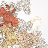 Fashion floral background with hand drawn poppy flowers — Stockvektor