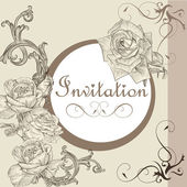 Vintage invitation card with roses — Stock Vector