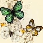 красивый Векторный фон с бабочками в винтажном стиле — Cтоковый вектор #36899769