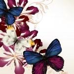 цветочный Векторный фон с бабочками и цветами — Cтоковый вектор #37042545