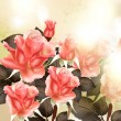 ストックベクタ: Beautiful vector background with pink detailed roses