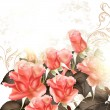 ストックベクタ: Grunge vector background with pink roses for design