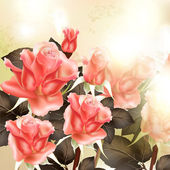 Beautiful vector background with pink detailed roses — Stok Vektör