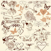 Collection of vector decorative elements in vintage style — Stock Vector