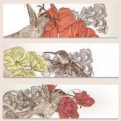 цветочные визитные карточки с птицами для дизайна — Cтоковый вектор
