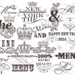 Set of vector decorative headlines and elements in vintage style — Stock Vector #37762327