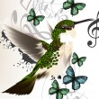 Music vector background with humming bird, butterflies and notes — Stok Vektör #37762367
