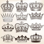 Collection of vector royal crowns for heraldic design — Stok Vektör