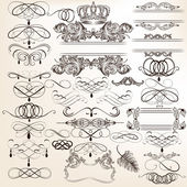 Collection of vector vintage decorative elements for design — Stock Vector