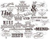 Set of vector decorative headlines and elements in vintage style — Stock Vector
