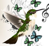 Music vector background with humming bird, butterflies and notes — Stock Vector