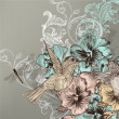 Vector de stock : Elegant floral background with flowers and humming birds