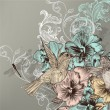 图库矢量图片: Elegant floral background with flowers and humming birds